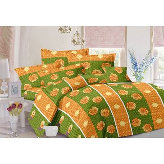 Valtellina Stripes Design Green Colour Cotton Double Bed Sheet with 2 Pillow Cover - TC-140