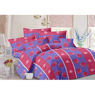 Valtellina Stripes Design Blue Colour Cotton Double Bed Sheet with 2 Pillow Cover - TC-140