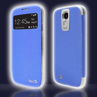 VanD Smart View Flashing Case for the Galaxy S4/i9500/S IV - Retail Packaging - Blue