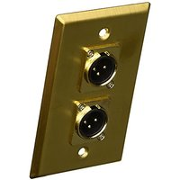 Seismic Audio SA-PLATE18 Gold Stainless Steel Wall Plate With Dual XLR Male Connectors