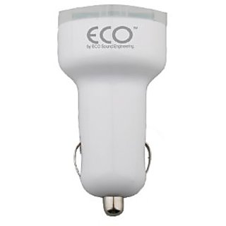 Eco 12213 Universal Dual USB 2.1A Vehicle Charger - Retail Packaging - White