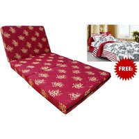 Story@Home Three Fold Single Size Foldable Mattress (72 * 35 * 4 ) Free Single Bedsheets with 1 Pillow Covers, Marron, Yellow
