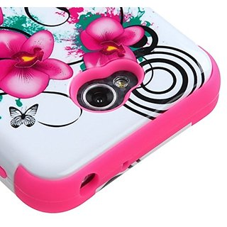 MyBat TUFF Hybrid Phone Cover for LG Optimus Exceed 2/L70 - Retail Packaging - Morning Petunias/Electric Pink