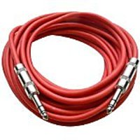 "Seismic Audio - SATRX-25Red - 25 Foot Red 1/4"" TRS Patch Cable - Balanced Cord - Effects"