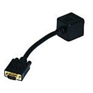 Monoprice 102679 VGA(HD15) M to VGA(HD15) F x 2 (1 PC to 2 Monitors) for High Resolution Video Splitter Cable