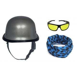 Fashno German Cap Helmet with Bandana and Night Drive Sunglass(HLMT-COMBO-04)