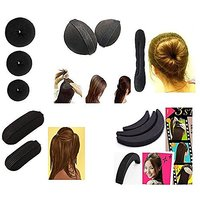 Majik Combo Of 11 Pcs (3 Donut+ Hair Base+ Hair Puff Set+ Tic-Tac Hair Base+1 Banana Donut), Hair Accessories, HAIR ST