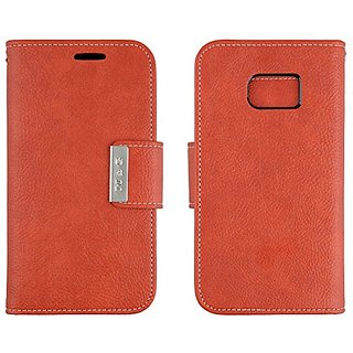 Galaxy S7 Wallet Case Scret Pu Leather Flip Diary Cover with Built-in Credit Card Slots ID Card Holder (Orange)