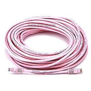 Monoprice 75FT 24AWG Cat5e 350MHz UTP Ethernet Bare Copper Network Cable - Pink