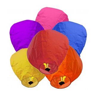 Set of 5 Sky Lanterns Wish Candles Hot Air Balloons