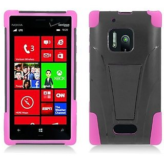Aimo Wireless Skin Case for Nokia Lumia 928 - Retail Packaging - Hot Pink/Black
