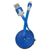 2M Lightning 8 Pin USB Dual Color Flat Noodle Sync Cable For IPhone 5, IPod Blue