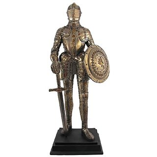 12.75 Inch Medieval Knight with Shield and Sword Statue Figurine