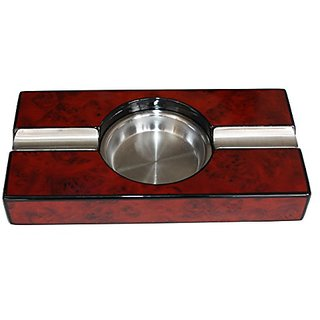 Cherry Wood and Metal Ashtray for Cigars