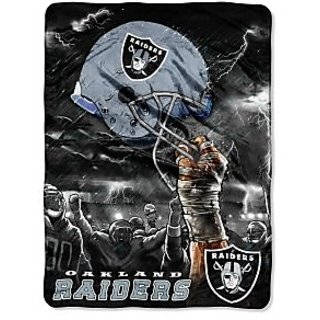 Oakland Raiders 60x80 Royal Plush Raschel Throw Blanket - Sky Helmet Style
