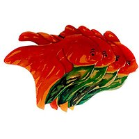 Nativo Crafts Hand Painted Coasters With An Orange Fish Design, 5.9 Inch By 5.9 Inch