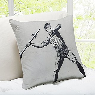 iLeesh Banky Art Throw Pillow, Javelin Thrower London