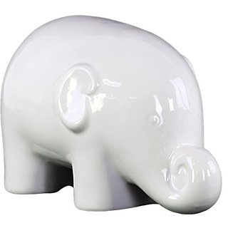 Urban Trends Ceramic Standing Elephant Figurine with SM Gloss Finish, White