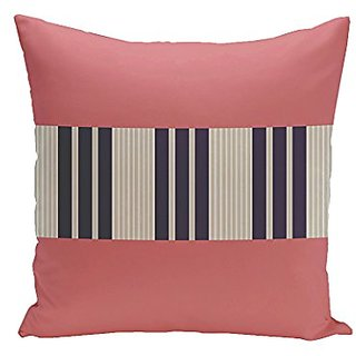E By Design CPS-N15-Coral_Oatmeal_Spring_Navy-16 Stripe Cotton Decorative Pillow, 16-Inch, Coral/Oatmeal/Spring Navy