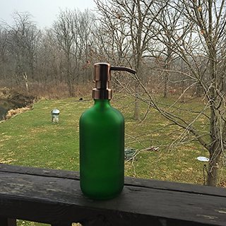 Green Frosted Glass Soap Dispenser with Copper Metal Pump - Green Frosted 16oz Glass Bottle Lotion Bottle by Industrial