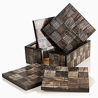 Fathers Day Gifts Stylish Wooden Square Coasters Set Of 4 And Holder Made With Burt Horn Texture Elegant Bar Dining Acce