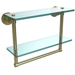 Allied Brass WS-2TB/16-SBR 16-Inch Double Glass Shelf with Towel Bar