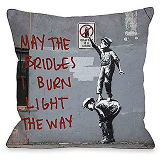 Bentin Home Decor Crime Burn Bridges Throw Pillow w/Zipper by Banksy, 18