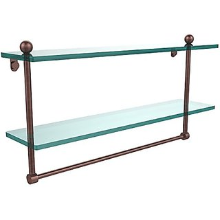 Allied Brass PR-2/22TB-CA 22-Inch Double Shelf with Towel Bar, Antique Copper