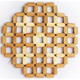 JustNile 4-Piece Coaster Set - Bamboo Diamond Grid