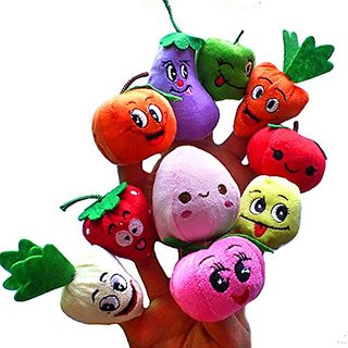 Ookamiwolf 10 Pcs Fruit Vegetable Finger Puppets Set for Kids