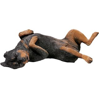 Sandicast Original Size Rottweiler Sculpture - Lying Back