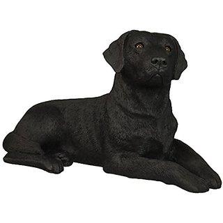 Sandicast Original Size Black Labrador Retriever Sculpture, Lying