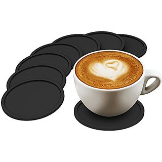 Drink Coasters Set of 8, High Quality Silicone, Good Grip and Eco-friendly, Deep Tray Protects Your Furniture From Stain