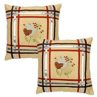 Indian Design Silk Patchwork Handmade Home Decor Cushion Cover Set Size 16 X 16 Inches Set of 2 Pcs