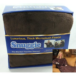 SNUGGIE Microplush Thick Fleece Blanket, Chocolate Brown