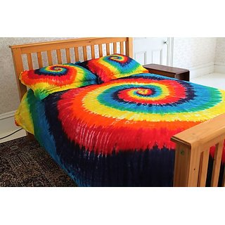 Brightside Tie-Dye 100% Cotton Duvet Cover Set - Classic Rainbow - Twin Extra Long XL