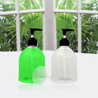 16 oz Clear Kitchen Soap Dispenser, Dish, or Hand Soap Pump for your Bathroom Countertop. Set of 2 No Drip Soap Dispense