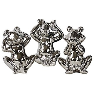 Urban Trends Ceramic Frog No Evil (Hear/Speak/See) Figurine Assortment of Three Polished Chrome Finish, Silver