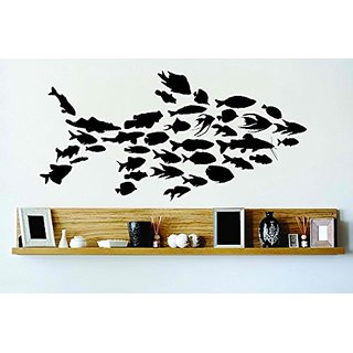 Design with Vinyl Cryst 150 176 Black Many Fish Creating Huge Fish Vinyl Wall Decal Art Home Decor Bedroom Living Room,
