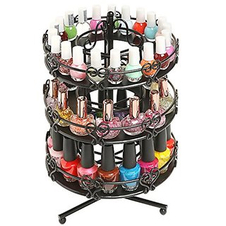 3 Tier Salon Style Black Metal Spinning Carousel Nail Polish Display Rack / Cosmetic Organizer Stand