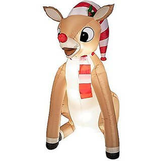 Rudolph Christmas Outdoor Decorations Rudolph with Scarf Airblown, Inflatable 5 Ft by Gemmy Industries