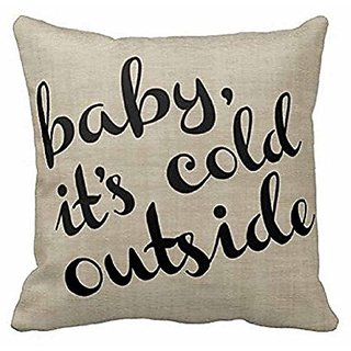 Cotton Linen Square Decorative Throw Pillow Case Cushion Cover Baby Its Cold Outside Bold Cursive & Stripe 18