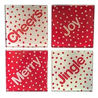 Christmas Polka Dots Glass Coasters, Set Of 4, Cheers, Merry, Jingle, Joy