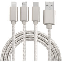 Snaptic 3 in 1 Hi-Speed Nylon Charging  Sync Lightning Cable for Type C, V8(Android), iOS Phones - Assorted Color