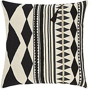 Jaipur Tribal Pattern Black/Ivory Linen Poly Filled Pillow, 22