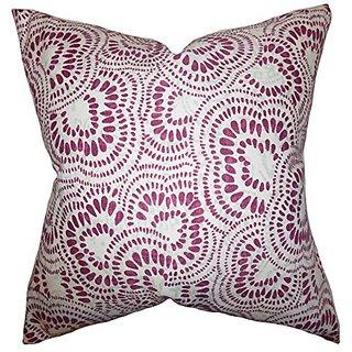 The Pillow Collection P20-d-jax-bourdeaux-c100 Glynis Floral Pillow, Bourdeaux, 20