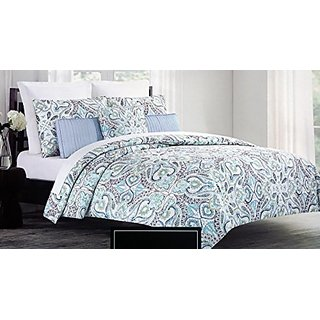 Cynthia Rowley 3 Piece Full / Queen Duvet Cover Set Aqua Green and Blue Paisley Floral Pattern on White