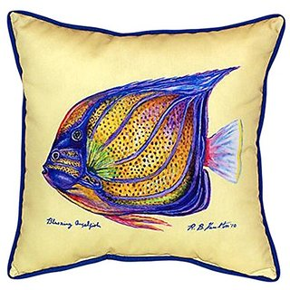 Betsy Drake Sailfin Tang-Yellow Indoor/Outdoor Pillow, 22