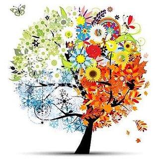Wallmonkeys Four Seasons - Spring, Summer, Autumn, Winter. Art Tree - 48
