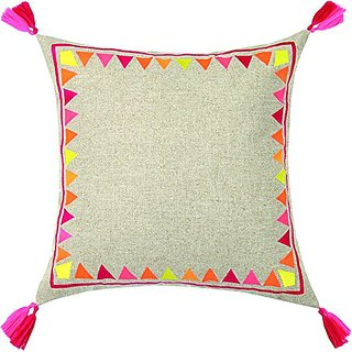 Trina Turk Neon Solona Tassel Fringe Embroidered pillow, 20x20 Inch , Yellow/Orange, Yellow